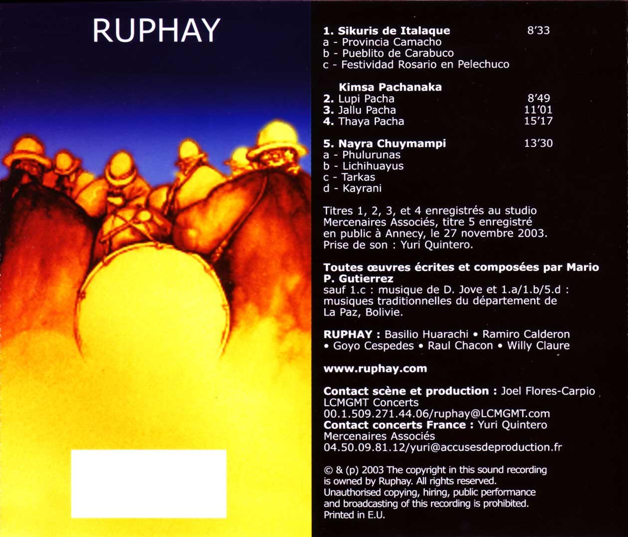 Ruphay - Kimsa Pachanaka – Les Troís Saísons des Andes